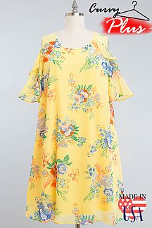 FLORAL PRINT RUFFLED COLD SHOULDER CHIFFON DRESS