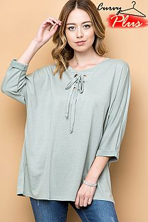 SOLID EYELET LACE UP NECK TOP