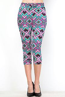 UNIQUE PRINT BANDED CAPRI LEGGINGS