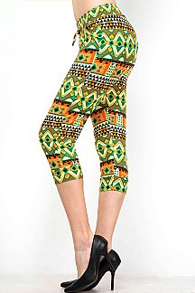 TRIBAL PRINT BANDED CAPRI LEGGINGS
