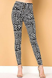 TRIBAL PRINT LEGGINGS WITH FRONT ZIPPER
