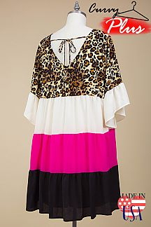 LEOPARD PRINT COLOR BLOCKED TIERED DRESS