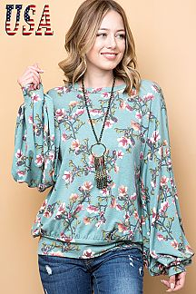 FLORAL PRINT PLEATED PUFF SLEEVE TOP