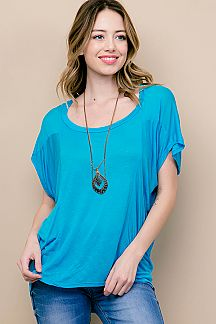 SOLID DOLMAN SHORT SLEEVE TOP