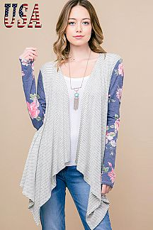STRIPED CONTRAST FLORAL PRINT SLEEVE ASYMMETRICAL CARDIGAN