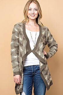 PATTERNED DRAPE KNIT CARDIGAN