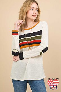 SOLID CONTRAST MULTI COLOR STRIPED ELBOW PATCH DETAIL TOP