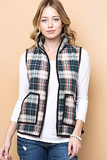 PLAID PRINT ZIP-UP VEST