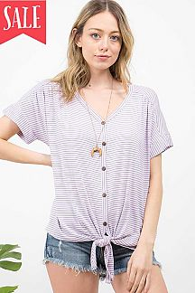STRIPED BUTTON & TIE FRONT V-NECK TOP