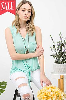 SOLID BUTTON & TIE FRONT POCKET DETAIL SLEEVELESS TOP
