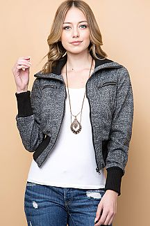 TWO TONED MELANGE KNIT BOMBER JACKET