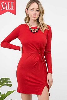 SOLID TWISTED KNOT FRONT SLIT HEM BODYCON DRESS