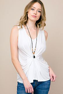 SOLID KNOT FRONT SLEEVELESS TOP
