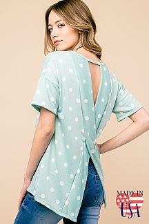 POLKA DOT CROSSOVER OPEN BACK TOP