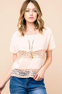 SOLID MESH LACE TRIM TOP