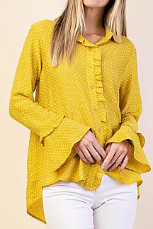 DOTTED BUTTON-DOWN SHIRT TOP