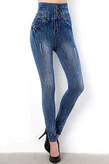HIGH WAIST 3 BUTTONED DISTRESSED DENIM PRINT JEGGINGS