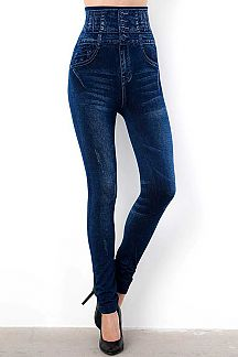 HIGH WAIST 4 BUTTONED DISTRESSED DENIM PRINT JEGGINGS