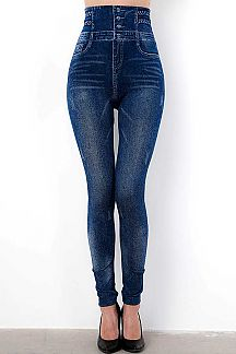 HIGH WAIST 4 BUTTONED DENIM PRINT JEGGINGS