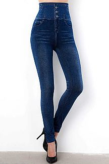 HIGH WAIST 3 BUTTON DENIM PRINT JEGGINGS