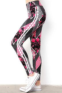HIGH WAIST PRINT LEGGINGS WITH SIDE STRIPES