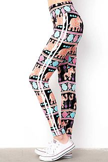 HIGH WAIST PRINT LEGGINGS WITH DOUBLE STRIPES