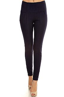 BUTTON & ZIPPER TRIM JEGGINGS WITH FLEECE LINING