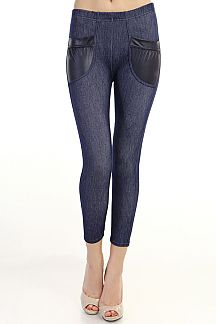 FAUX LEATHER POCKET ANKLE JEGGINGS