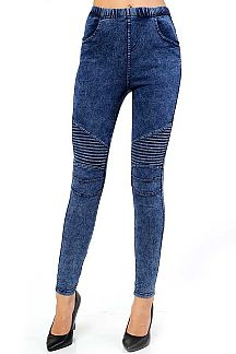 STONE WASHED KNIT DENIM MOTO JEGGINGS