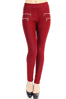 DOUBLE ZIPPER SOLID JEGGINGS