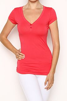 V-NECK JERSEY TOP WITH BUTTON TRIM