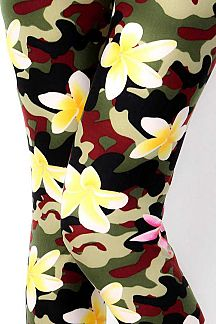 FLORAL CAMOUFLAGE PRINT LEGGINGS