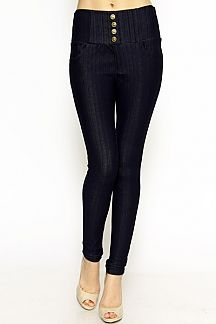 BUTTONED STRETCH JEGGINGS WITH BACK POCKETS