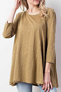 SOLID ROUND NECK TUNIC TOP