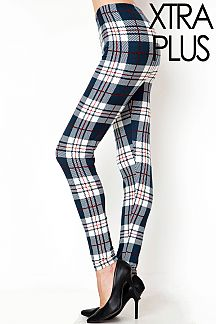 XTRA PLUS PLAID PRINT LEGGINGS