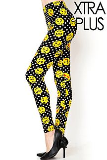 XTRA PLUS SIZE EMOJI PRINT LEGGINGS