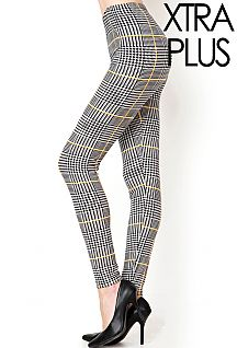 XTRA PLUS SIZE HOUNDSTOOTH PRINT LEGGINGS
