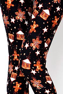 GINGERBREAD MAN PRINT LEGGINGS