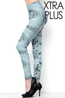 XTRA PLUS SIZE MUSIC NOTES PRINT LEGGINGS