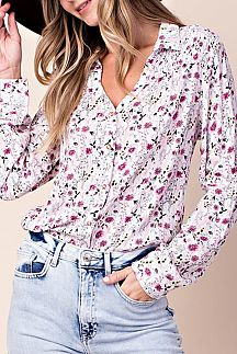 FLORAL PRINT BUTTON-DOWN TOP