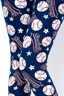 LOVE OF BASEBALL PRINT LEGGINGS