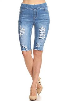 DENIM PRINT DISTRESSED BERMUDA JEGGINGS