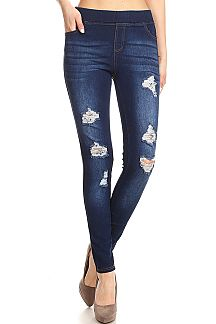 DENIM PRINT DISTRESSED JEGGINGS