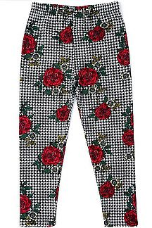ROSE & HOUNDSTOOTH PRINT KIDS LEGGINGS
