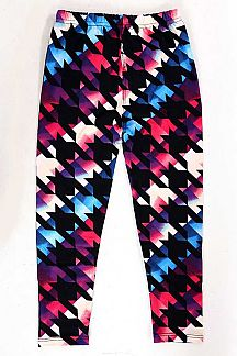 KIDS MULTI-COLOR HOUNDSTOOTH PRINT BRUSHED LEGGINGS