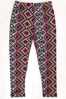 KIDS ETHNIC PRINT BRUSHED LEGGINGS