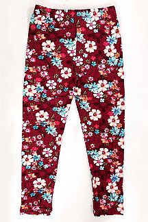 KIDS FLORAL PRINT BRUSHED LEGGINS