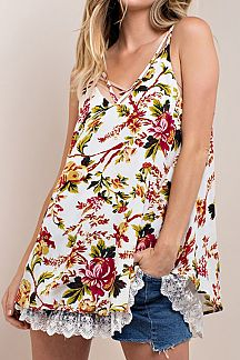 FLORAL PRINT WITH MESH LACE SLEEVELESS TOP