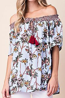 FLORAL PRINT OFF-SHOULDER SMOCKING TOP