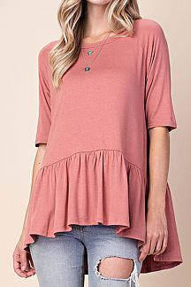 SOLID SLIM SLEEVE FRILL TOP